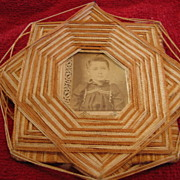 REDUCED Antique Folk Art Victorian Star String Frame with Photo