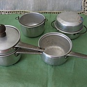REDUCED 7 Pieces of Aluminum Toy Kitchenware Double Boiler Roaster with Lid & More