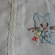REDUCED Vintage Baby Pillow Top Pillow Case with Embroidered Kittens