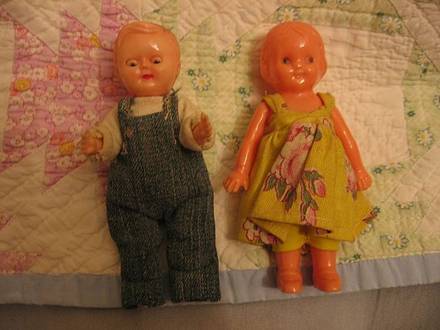 Adorable Vintage Barefoot Farmer and Wife Dolls Lady by Irwin