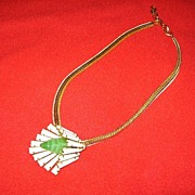 REDUCED Stunning Schreiner New York Necklace Keystone and Art Glass Flower