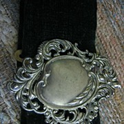SALE Lovely Art Nouvea Buckle on Edwardian Black Velvet Belt