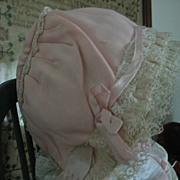 SALE Adorable Pink Bonnet with Layers of Delicate Lace