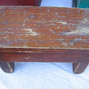 SALE Unique Miniature Wooden Bench Small Antique Doll Stool