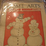 SALE Snowman Mistletoe and Snowgirl Cover 1930s Magazine