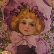 SALE Large Die Cut Valentine Lovely Child in Lavender