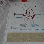 SALE Unusual Handmade Match Striker Embroidered Girl at Beach