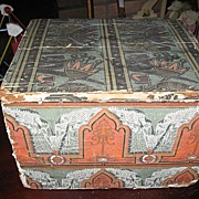 SALE 1880s Wood Covered Wallpaper Box with Lid and Lancaster Pa News