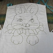 SALE Adorable Embroidered Quilted High Chair Pad with Bunny