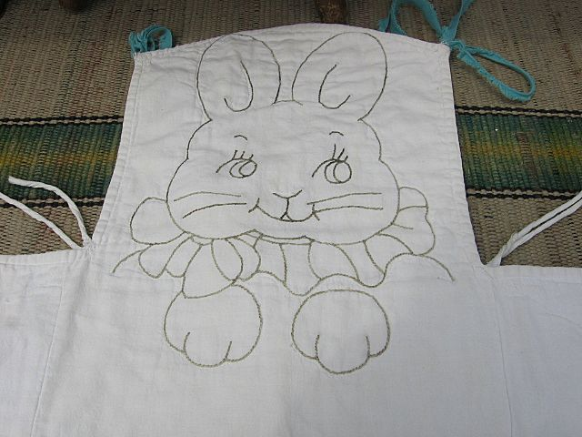 Adorable Embroidered Quilted High Chair Pad with Bunny