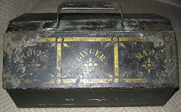 Unusual Antique Tin Tole Painted Spice Box