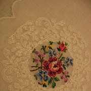 Beautiful Petit Point Floral Hankie Hanky
