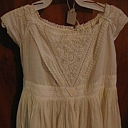 SALE Antique Mid 1800s White on White Work Baby Toddler Dress