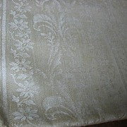 Art Nouveau Flair Unused Ecru Tablecloth