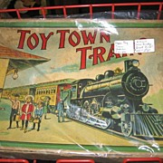SALE Early 1900s Unique Paper Toy in Original Box Train Set Milton Bradley Co