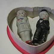 SALE Small Valentine Heart Shaped Red Box with Bride & Groom Bisque Dolls