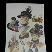 1800s Magazine Tear Sheet Ladies Fashion Hats Frame it!