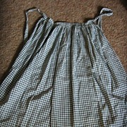 REDUCED Rare Early Forest Green Checked Antique Apron Country Primitive