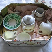 9 Pieces Early Doll China Dishes Tea Pots Flow Green Dish