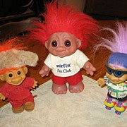 SALE 3 Vintage Trolls Dam and Russ Roller Derby Frontiersman and Norfin Fan Club