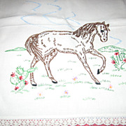 Attention Horse Lovers Embroidered Dresser Scarf with Horse
