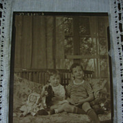 Early 1930s Photograph 2 Kids with Toy Car Doll and Bear