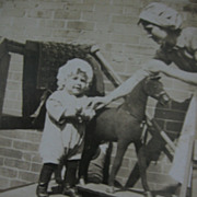 Early RPPC Small Child with Really Great Toy Horse