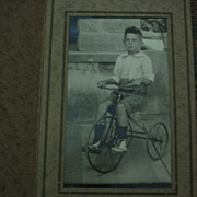 1920s or 1930s Photo Small Boy on Early Tricycle