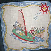 WDP Childs Disney Hankie Donald and Nephews on Boat