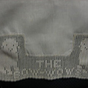 SALE Wonderful Early 1900s Childs Bib with Crocheted Dogs Bow Wows
