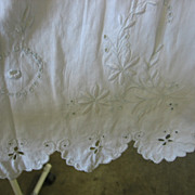 SALE Antique White on White Skirt Fabric with Fancywork