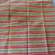 SALE Large Old Red and Brown Ticking Pillow Cover