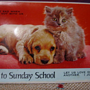 Printed in Japan Sunday School Invite Postcard with Pup & Kitty Squeaks