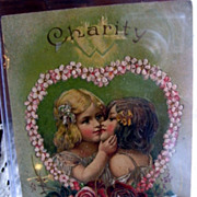 RARE Two Girls Kissing Early 1900s Embossed Greeting Card Lesbians?