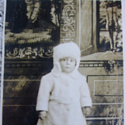 RPPC Toddler in White Fur Coat and Brrr Cold Hat