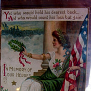 SALE Rare Lady Liberty Honors Heros Memorial Day Postcard