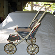 SALE 1930s Blue Canvas Doll Stroller with Metal Wheels