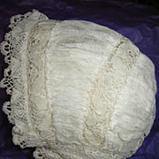 Stunning Antique Net Lace Baby Bonnet for Baby or Doll