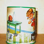 Vintage Tin Litho Bank Little Girl and Mice