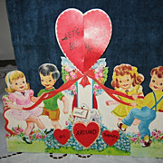 Large New Old Stock Vintage Valentine Kids at May Pole