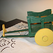 SALE Vintage Green Painted Toy Cart