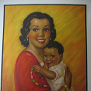 SALE Vintage Print Hispanic Mother with Child