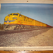 SALE Vintage Union Pacific Train Calendar Prints