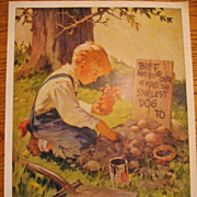 Wonderful Vintage Print Biff Was Rund Over He Was the Swellest Dog
