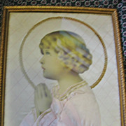 Vintage Framed Praying Child Wall Art *** One of A Kind***