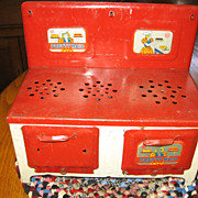 SALE 1940s Era Marx Red and White Metal Pretty Maid Toy Stove Oven