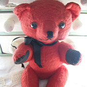 Vintage Red Wool Felt Teddy Bear 1950s Carnival Prize