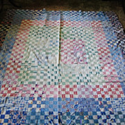 SALE Pleasing Postage Stamp Quilt Top Totally Hand Stitched Lancaster Co Pa
