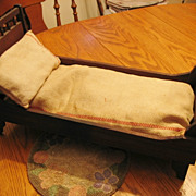 Beautiful Antique Victorian Folding Doll Bed with Mattress and Pillow