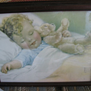 Vintage Bessie Pease Gutmann Framed Print Sleeping Baby with Teddy